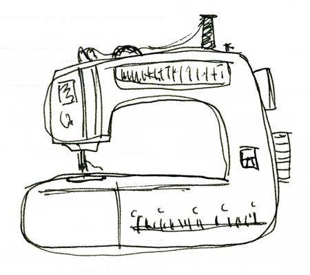 Sewing Machine - Drawing