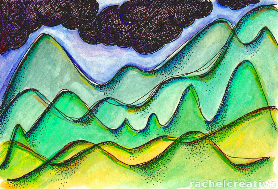 Art showing 5 layers of lush bumpy hills that overlap under dark thick clouds.