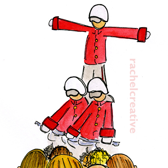 Art. Drawing shows two motorcyle riders with a third standing on their shoulders in front of a crowd of people. All the riders wear uniforms.