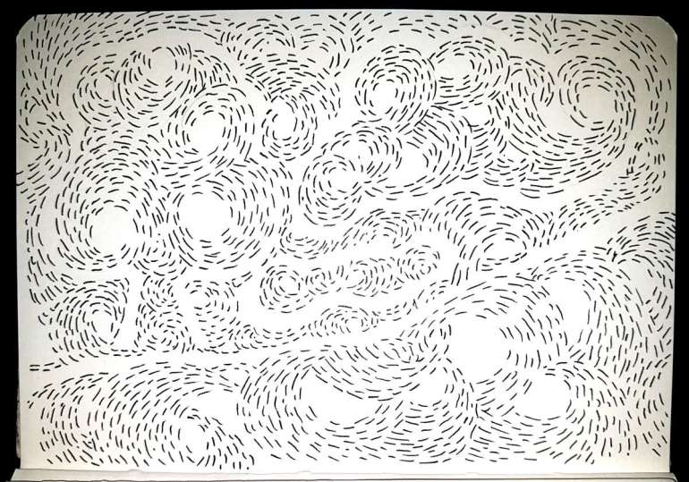 Black ink dashes in swirls, make up a landscape which is hard to decipher.
