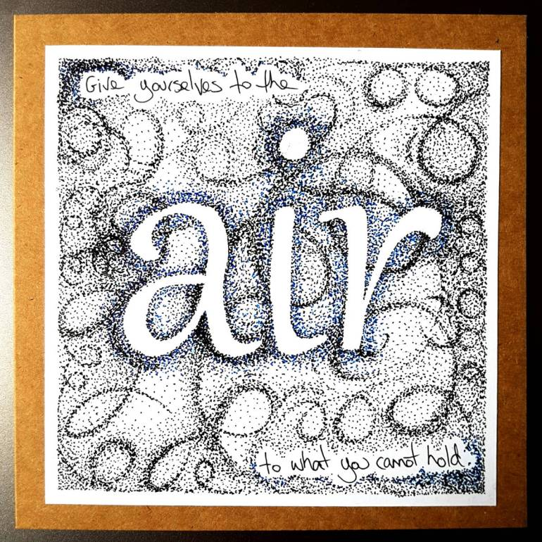 """Art. Drawing mounted on card with thousands of ink dots curling and dancing around the word """"air""""."""