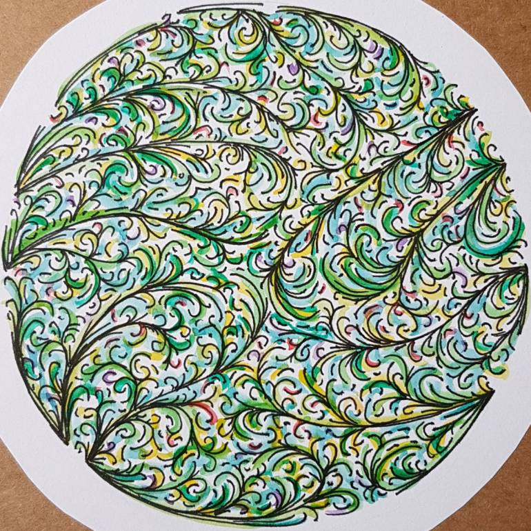 Drawing of curling fronds in a circle, mainly greens with some splashes of colour.