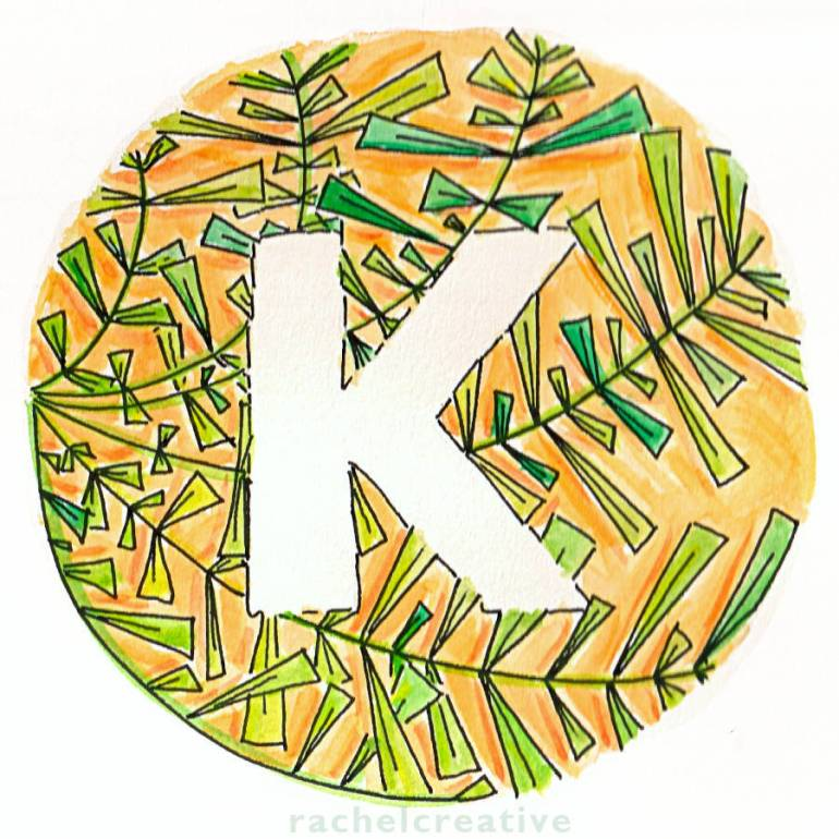 Art. Orange exotic sunshine soaked letter K with lush fantastical leaves.