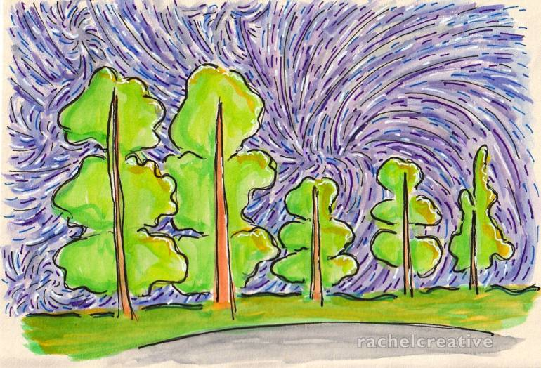 Art. Trees with multiple skewered canopies stand in a line on a grassy bank. The sky behind them dances and swirls in many directions with purples and deep blues.