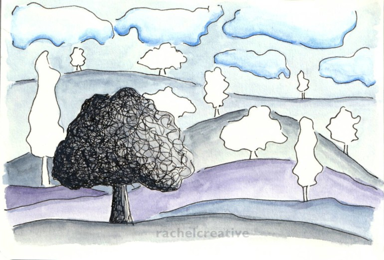 Art. A tree in black and grey at the fore, behind it hills with trees in outline without colour or fill. The hills are muted colours with a muted sky and blue stormy clouds.