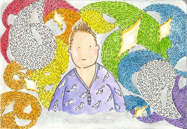 Art. Head and shoulders of a person with a wry smile, sticking up hair, and flushed cheeks wearing a purple nightdress with white birds on it. They are surrounded by dashed swirls of the rainbow along with white swirls and diamonds on a light grey background.